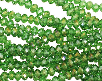 Kelly Green AB Crystal Faceted Rondelle 4mm