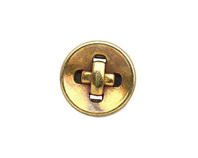 Antique Brass (plated) Button 10mm Cord Slide 18mm