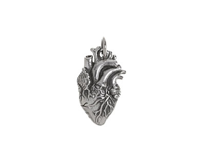 Nina Designs Sterling Silver Anatomical Heart Charm 10x20mm