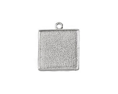 Nunn Design Sterling Silver (plated) Double Sided Square Bezel Pendant 26x31mm