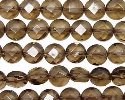 Smoky Quartz Faceted Coin 8mm