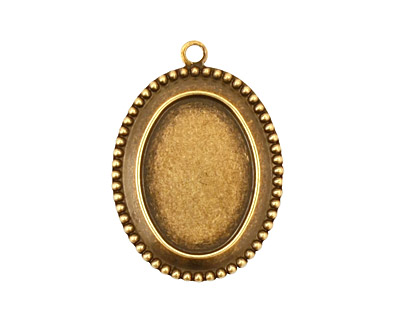 Stampt Antique Brass Beaded Edge Oval Setting 13x18mm