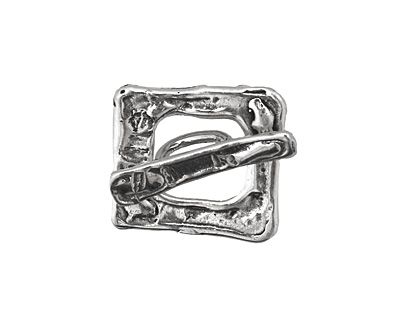 Rustic Charms Sterling Silver Square Rustic Toggle Clasp 20mm, 21mm bar