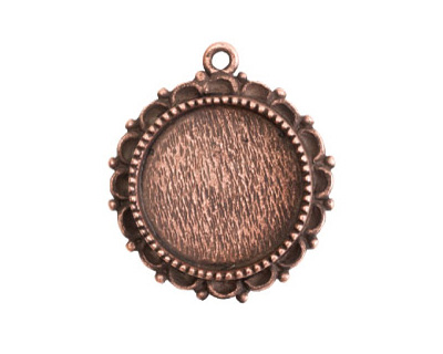 Nunn Design Antique Copper (plated) Large Ornate Circle Bezel Pendant 30x32mm