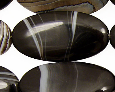 Black Sardonyx Flat Oval 40x20mm