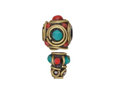 Tibetan Brass Guru Bead w/ Turquoise & Coral Mosaic 12x27mm