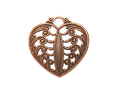 Stampt Antique Copper (plated) Scrolling Heart Filigree 24x25mm
