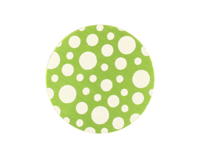 Lillypilly Lime Green Scattered Dots Anodized Aluminum Disc 25mm, 24 gauge