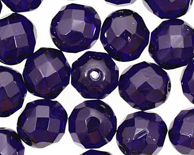 Czech Fire Polished Glass Cobalt Round 12mm