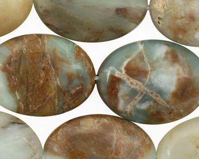 Peruvian Blue Opal Flat Oval 25x18mm