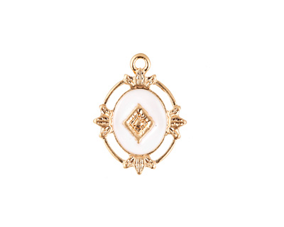 Zola Elements White Enamel Matte Gold Finish Ornate Framed Oval Focal 15x20mm