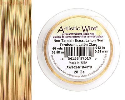 Artistic Wire Non-Tarnish Brass 28 gauge, 40 yards
