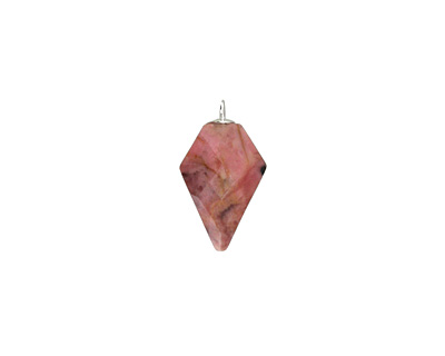 Rhodonite Faceted Arrow Pendant w/ Silver Finish 11-12x19-20mm