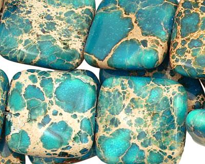 Ocean Blue Impression Jasper Puff Square 20mm