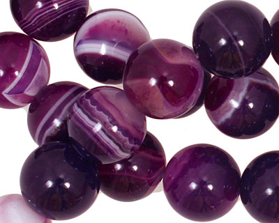 Purple Line Agate Round 12mm