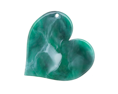 Zola Elements Emerald Marbled Acetate Heart Focal 35mm