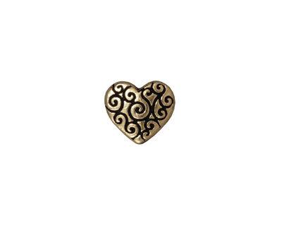 TierraCast Antique Brass (plated) Heart Scroll Bead 10x11mm