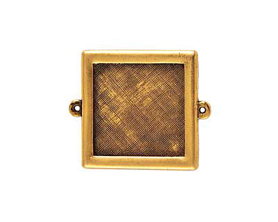 Nunn Design Antique Gold (plated) Framed Small Square Pendant Link 37x30mm