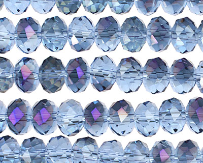 Light Sapphire & Purple AB Crystal Faceted Rondelle 8mm
