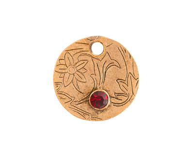 Nunn Design Antique Gold (plated) Decorative Small Circle Tag w/ Ruby Crystal 20mm