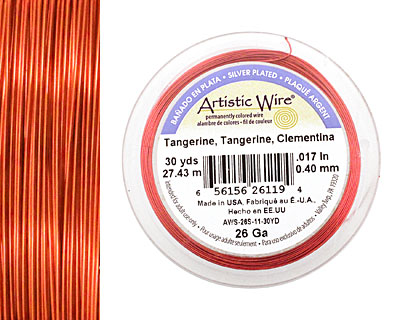 Artistic Wire Silver Plated Tangerine 26 gauge, 30 yards