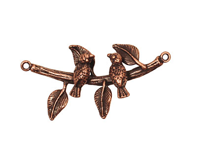 Ezel Findings Antique Copper Birds on the Branch Link 35x18mm