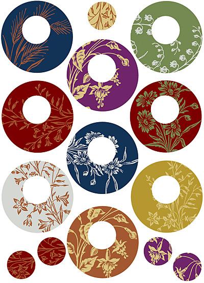 Nunn Design Floral Circle Small Collage Sheet