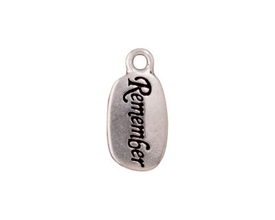 TierraCast Antique Silver (plated) Remember Charm w/ Glue In 10x20mm