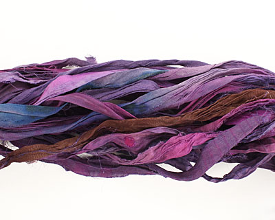 Deep Purple 100% Silk Sari Ribbon