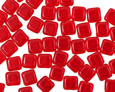 Czech Glass Siam Ruby Square 6mm