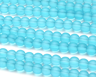 Barbados Blue Recycled Glass Round 6mm