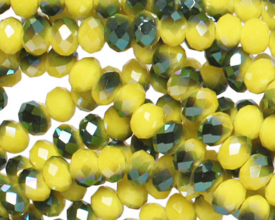 Iris Vintage Yellow Crystal Faceted Rondelle 4mm