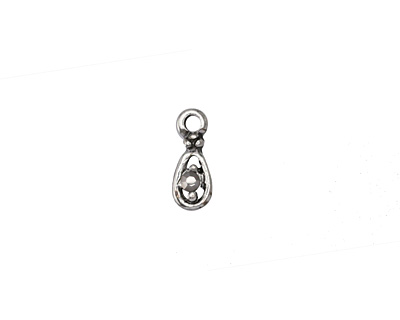 Antique Silver (plated) Hematite Crystal Teardrop Charm 5x12mm