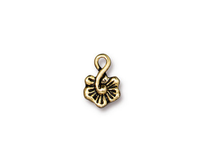 TierraCast Antique Gold (plated) Small Blossom Charm 8x12mm