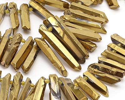 Metallic Gold Luster Quartz Graduated Point Drops 5-8x14-46mm