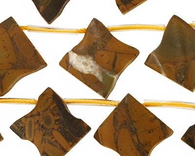 Golden Horse Jasper Flat Freeform Diamond Drop 19-20mm