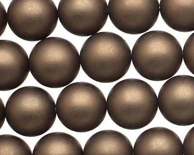 Chocolate (matte) Shell Pearl Round 12mm