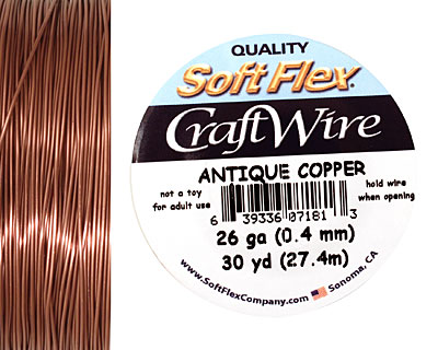 Soft Flex Non-Tarnish Antique Copper Craft Wire 26 gauge, 30 yards
