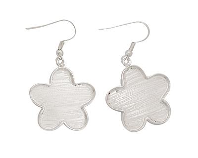 Silver (plated) Flower Bezel Earrings 21mm