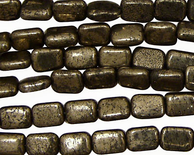 Golden Pyrite (silver tone) Thin Pillow 8x6mm