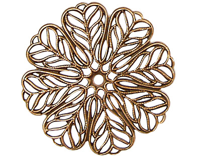 Stampt Antique Copper (plated) Daisy Filigree 36mm