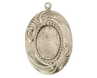 Stampt Antique Pewter (plated) Sweeping Feather Oval Setting 13x18mm
