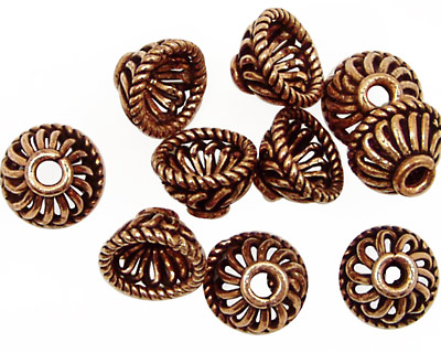 Antique Copper Twisted Bead Cap with Roping 11-12mm
