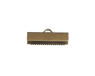 Antique Brass (plated) Ribbon Crimp End 20mm
