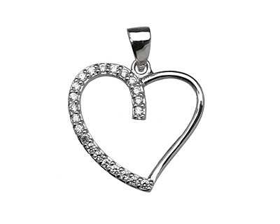 Sterling Silver & CZ Micro Pave Open Heart Pendant 23x25mm