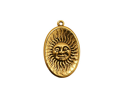 Stampt Antique Gold (plated) Visage de Soliel Charm 14x21mm