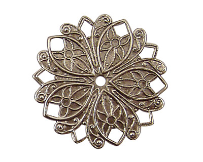 Stampt Antique Pewter (plated) Nouveau Flower Pendant 32mm