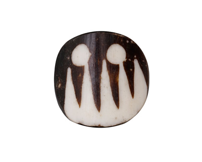 African Batiked Bone Tiki Rounded Square 21-25x22-25mm