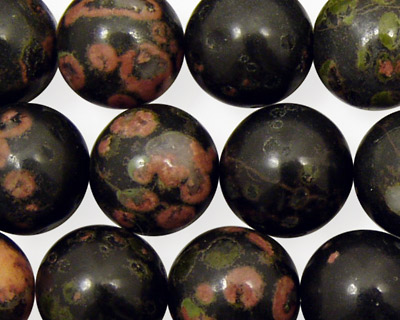 Black Leopardskin Jasper Round 14mm