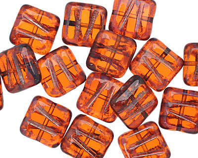 Czech Glass Transparent Rustic Red Picasso Carved Square 10mm